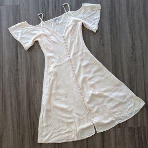 Off Shoulder Button Down Flowy Dress